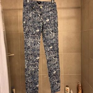 Skinny White and Blue Patterned H&M Jeans